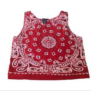 Boston proper red handkerchief patterned tank top
